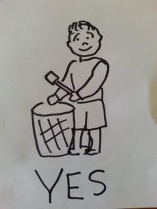 Drawing drumming